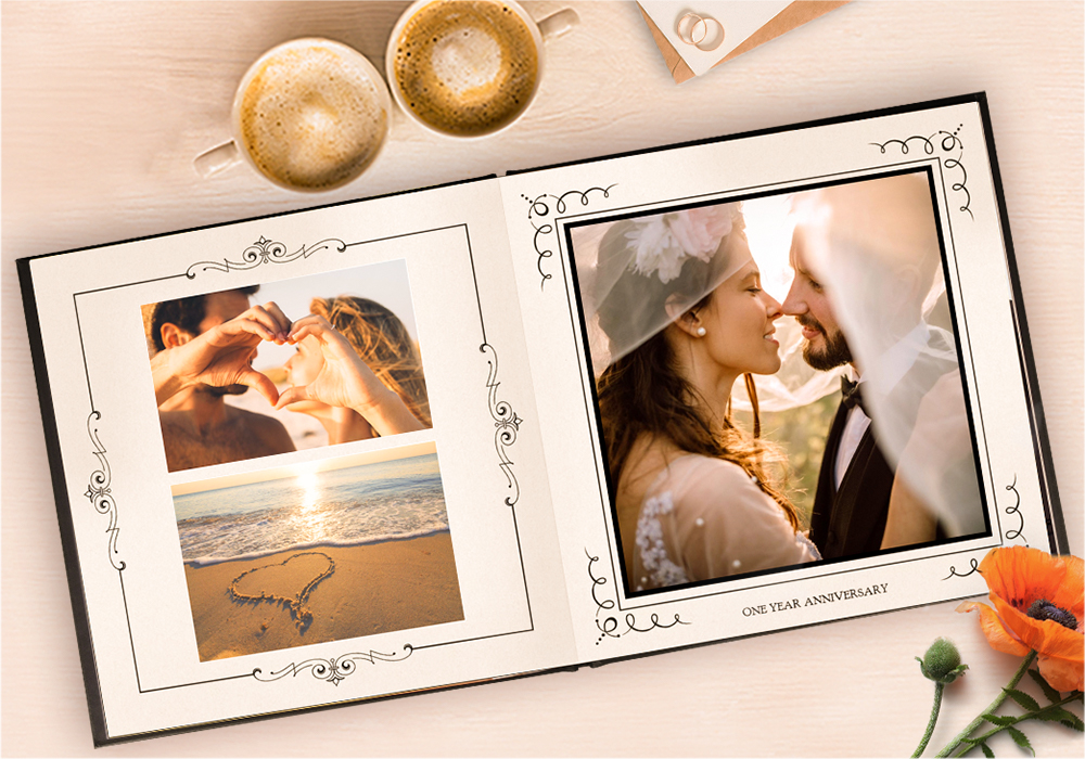 Anniversary Photo Book Gifts, Leather Lay-Flat Photo Book SC 2