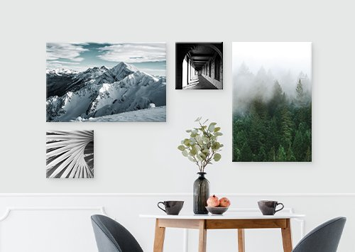 Gallery Wall with abstract prints