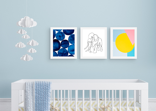 Framed Canvas Prints over baby's crib